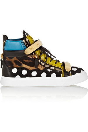 London 皮革和印花丝缎高帮运动鞋