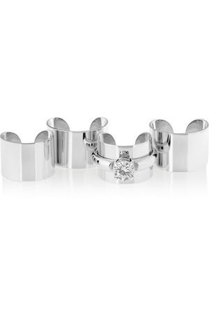 方晶锆石镀银戒指(四件套)