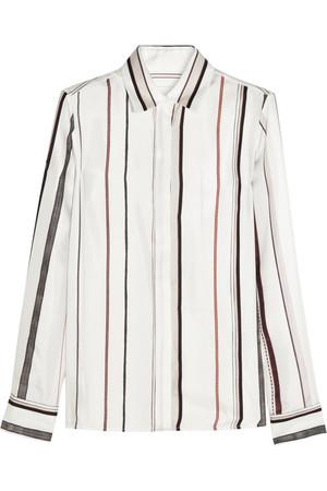 真丝斜纹布条纹衬衫