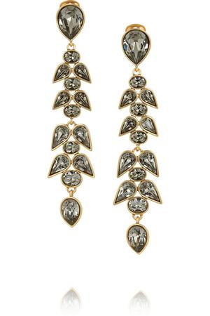 Wisteria 水晶、镀金夹扣式耳环