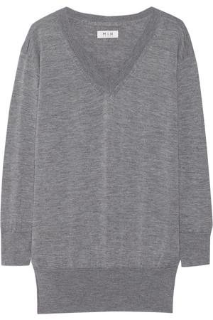The Long Vee 马利诺羊毛、真丝、羊绒混纺毛衣