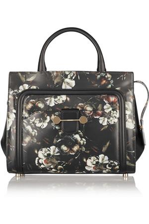 Daphne 花卉印花皮革手提包