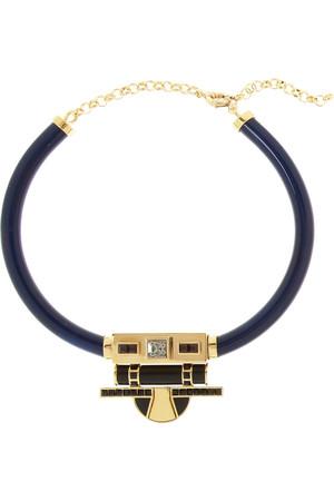 + V&A 施华洛世奇水晶和树脂镀金项链