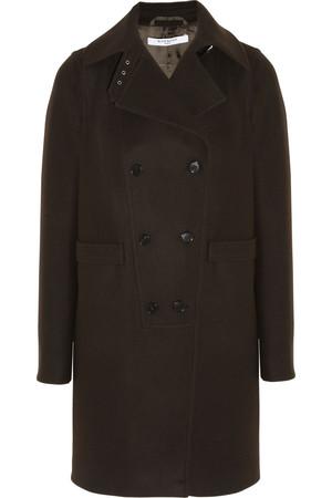 可可色混纺羊毛毡双排扣外套