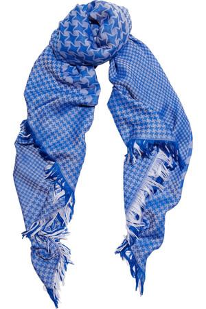 千鸟格羊毛真丝混纺围巾