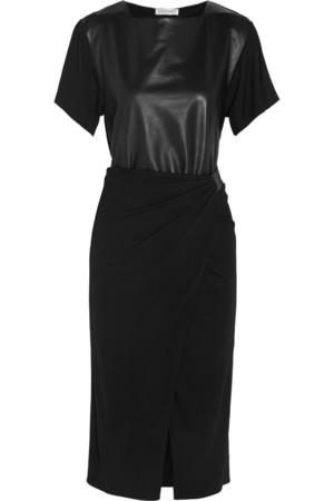 皮革拼接针织绉纱连衣裙