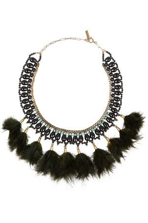 水晶、羽毛金色项链