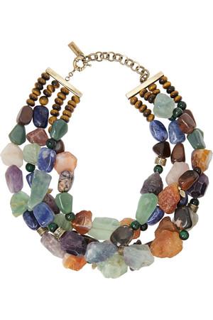 虎眼石、方钠石、紫水晶项链