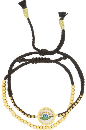 黄铁矿石镀金麻花绳友谊手绳(两件套)