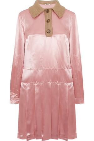 褶裥缎布衬衫式连衣裙