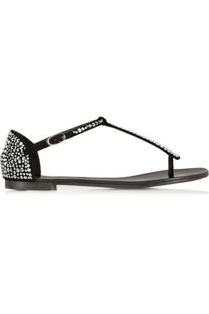 水晶缀饰绒面革凉鞋