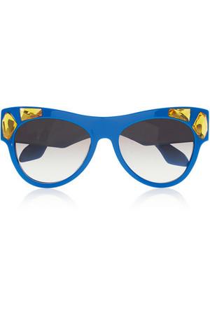 水晶缀饰猫眼板材太阳镜