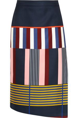 印花公爵缎裹身半身裙