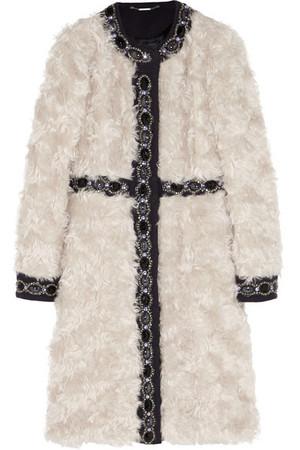 缀饰羊毛拼接马海毛外套