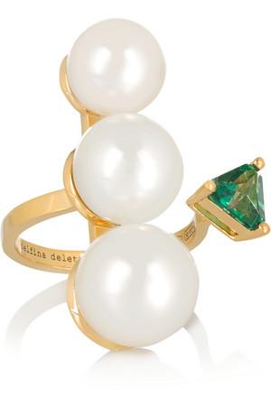 18K 黄金、珍珠、托帕石戒指