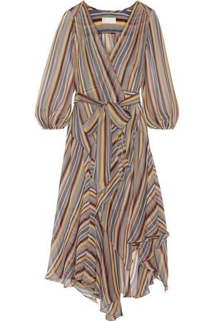 Ticking 条纹真丝绉纱裹身中长连衣裙