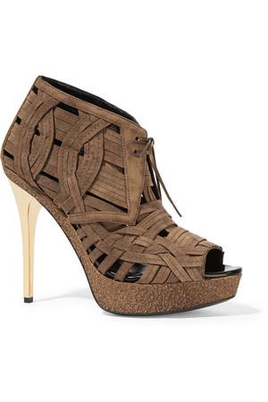 编织绒面革踝靴