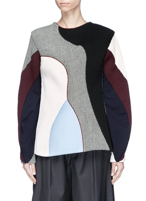 拼色设计混羊毛针织衫