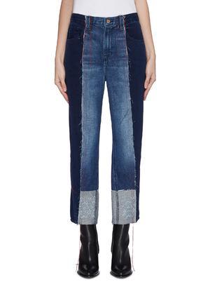 X KOZABURO SAPPHIRE车缝线须边拼接设计牛仔裤