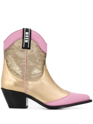 MSGM sequinned cowboy boots - GOLD
