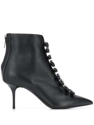 MSGM logo bow ankle boots - Black