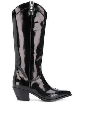 MSGM patent knee high boots - Black