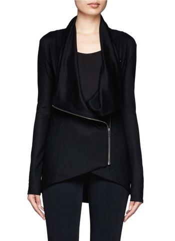 Draped shawl collar zip-front jacket