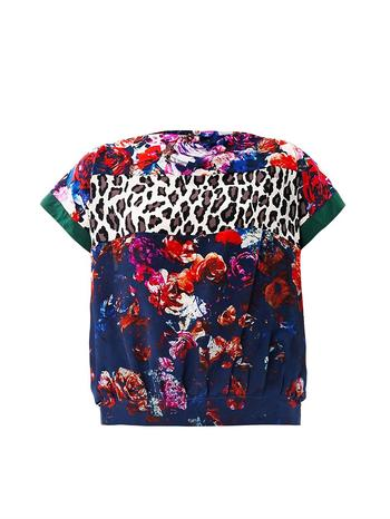 Floral and leopard-print silk top