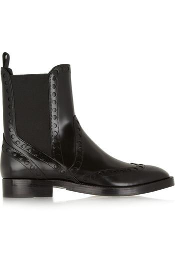 Nicole 圆孔镂空皮革切尔西靴