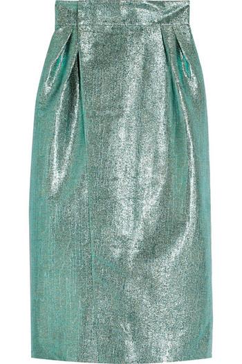金属感提花裹身中长半身裙