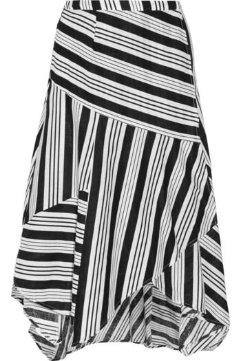 Ticking 条纹亚麻棉质混纺裹身半身裙