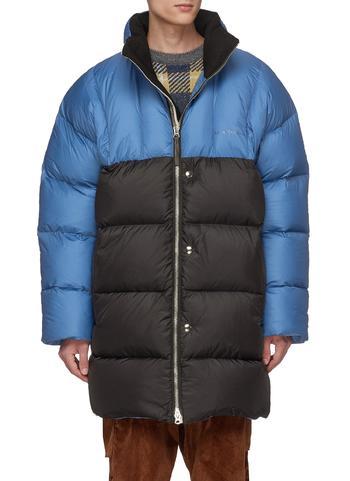 OVERSIZE拼色绗缝羽绒大衣