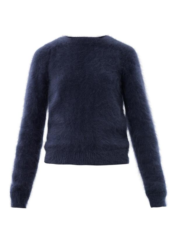 Banded angora sweater