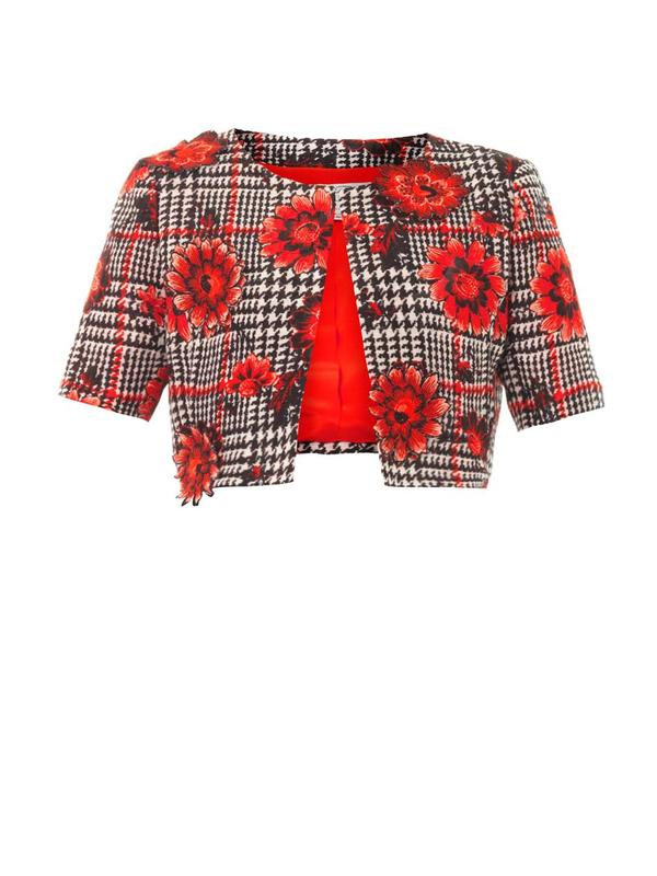 Flower embroidered houndstooth jacket