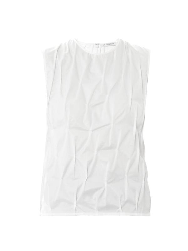 Diamond-pinch cotton blouse