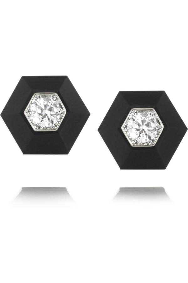 18K 白金、玉石、钻石耳钉
