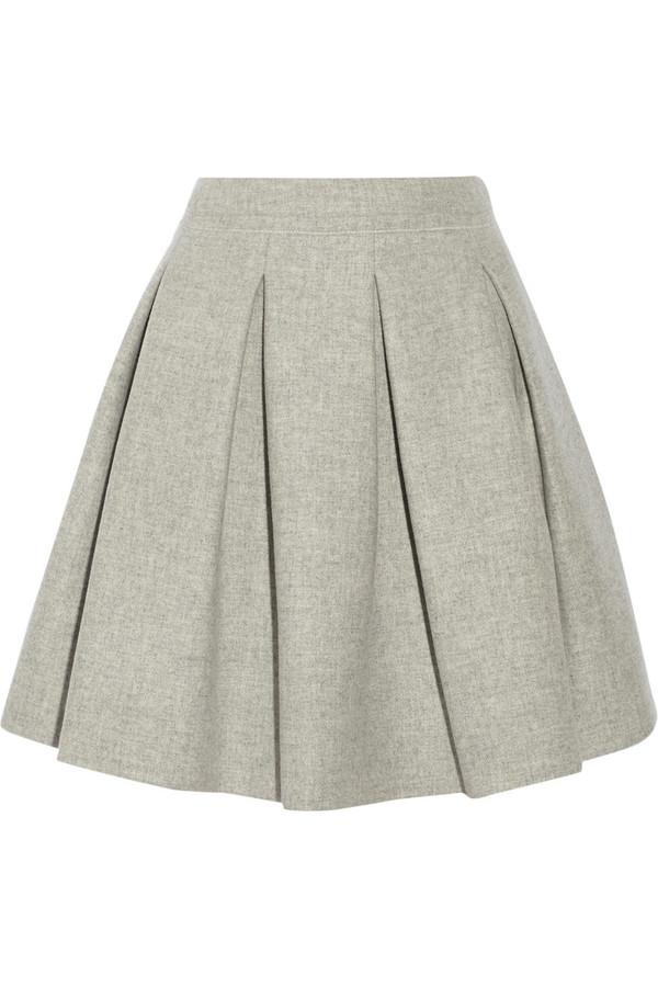 褶裥羊毛迷你半身裙
