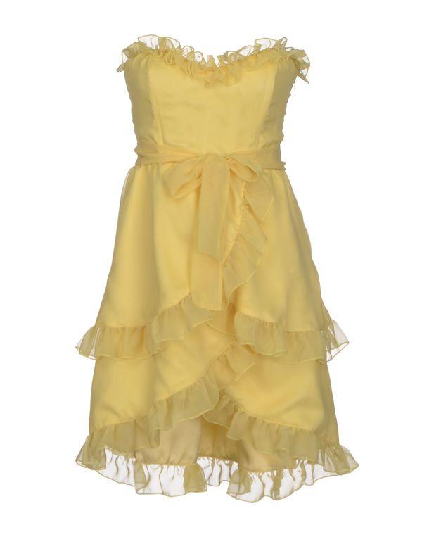 黄色 PINK BOW 短款连衣裙