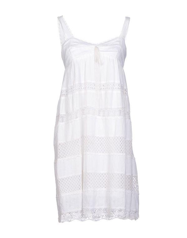 白色 AJAY 及膝连衣裙