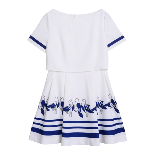Five Plus2014春夏系列白色印花连衣裙
