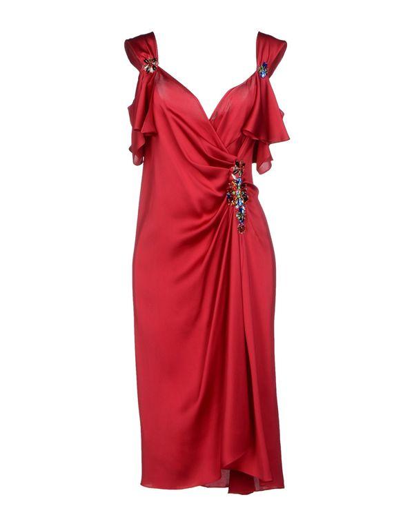 石榴红 MOSCHINO 及膝连衣裙