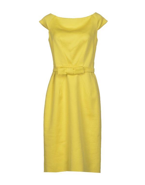 黄色 DIOR 及膝连衣裙