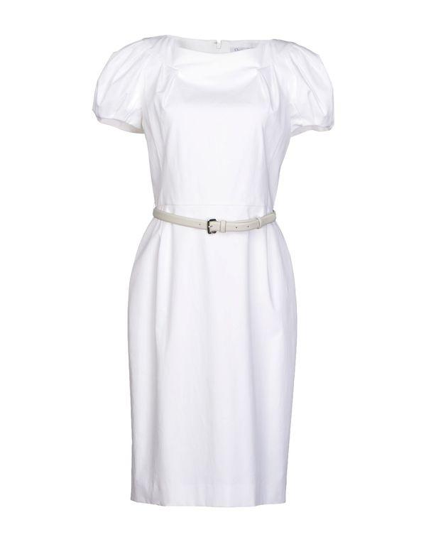白色 DIOR 及膝连衣裙