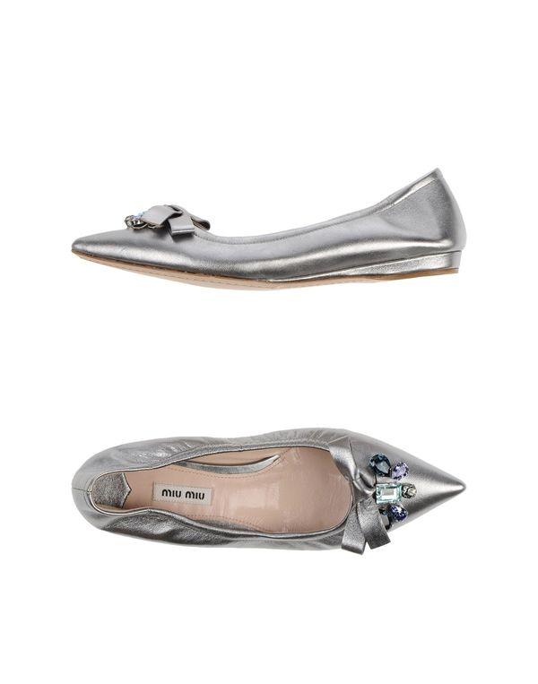 银色 MIU MIU 芭蕾平底鞋