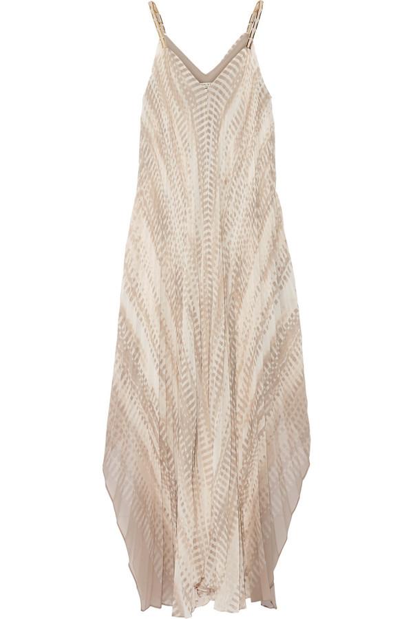 缀饰细皱布雪纺绸礼服