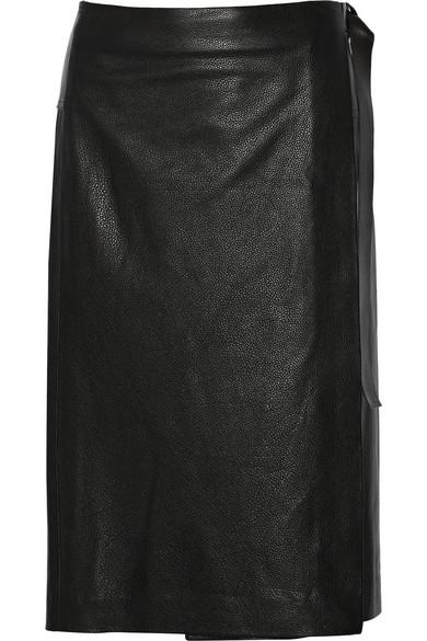 围裹效果皮革半身裙