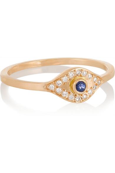 Evil Eye 18K 玫瑰金、钻石、蓝宝石戒指