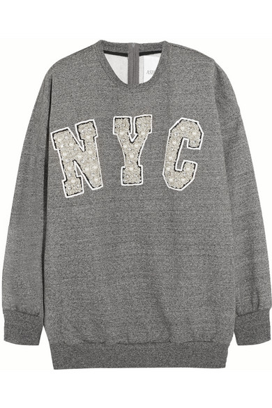 NYC 缀饰纯棉针织运动衫