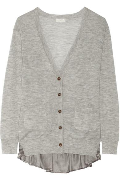 蕾丝和缎布边饰羊绒开襟衫