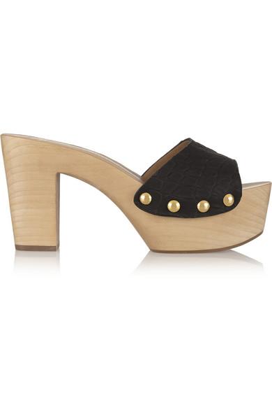 仿鳄鱼纹皮革穆勒鞋